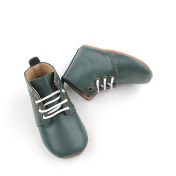 Olive Green Leather Kids Boots Casual Shoes