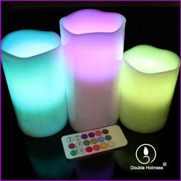 battery operated color change led pillar candle