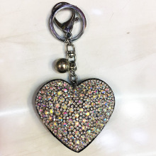 Rhinestone Crystal Heart Keychain Velvet Key Ring With Ball