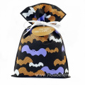 Black Halloween Gift Packing Bag With Bat Pattern