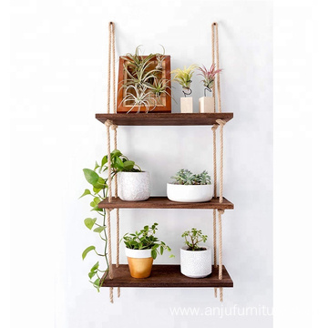 Perfect Wall Swing Storage Shelves Jute Rope Organizer Rack 3 Tier