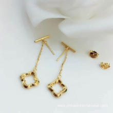 Factory Price for High Polished Gold Earring Lucky Leaf Earring 18K supply to East Timor Suppliers