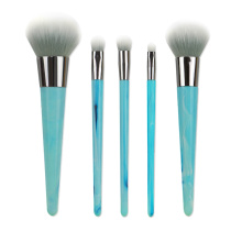 Blue Simulated Marble Handle Professional Makeup Brushes