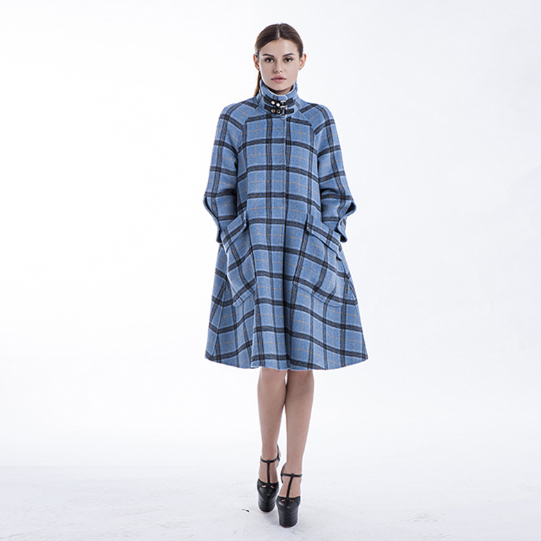 Stylish Plaid Blue Cashmere Winter Outwear