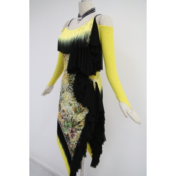 Yellow latin dance costumes for competition