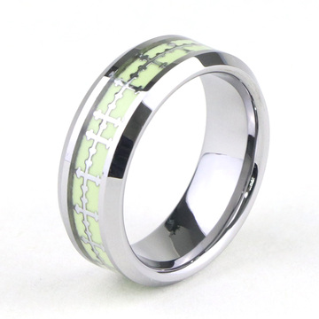 Cross Inlay Glow In The Dark Tungsten Ring