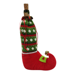 Christmas knitted magic elf wine bottle cover