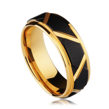 Gold And Black Mens Tungsten Promise Rings