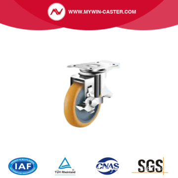 Side Lock Stainless steel medium duty pu casters