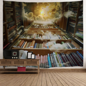 Bookshelf Backdrop Tapestry Vintage Bookrack Library Leading to The Sky Wall Hanging College Study Room