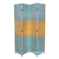 4 Panel Screen Beach Blue Natural Paper Straw Weave Room Divider