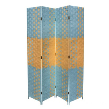 Bottom price for Panel Room Divider 4 Panel Screen Beach Blue Natural Paper Straw Weave Room Divider supply to Turkmenistan Wholesale