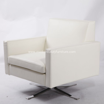 White Kennedee Rotatanle Leather Armchair