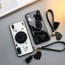 Camera Tempered Glass Phone Case with Wrist Strap