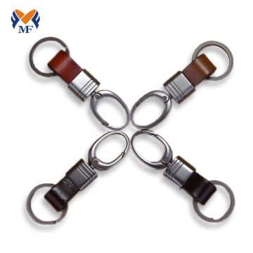 Genuine leather hook keychain ring for men