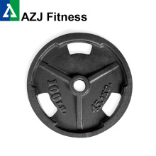 100LB Tri-Grip Cast Iron Olympic Weight Plate