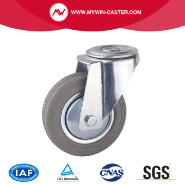 Gray Rubber Bolt Hole Industrial Caster
