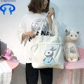 Fresh cartoon rabbit drawstring canvas single shoulder