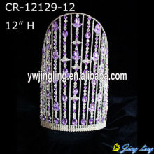 12 Inch Purple Rhinestone Big Pageant Crowns