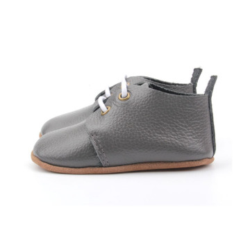 Gray Genuine Leather Toddler Saddle Oxford Shoes