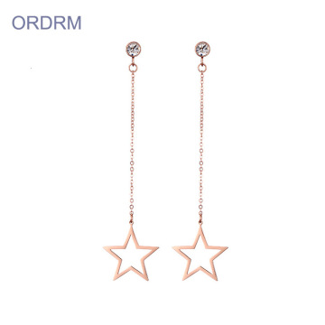 Simple Long Rose Gold Star Dangle Earrings