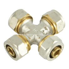 Brass compression cross fitting