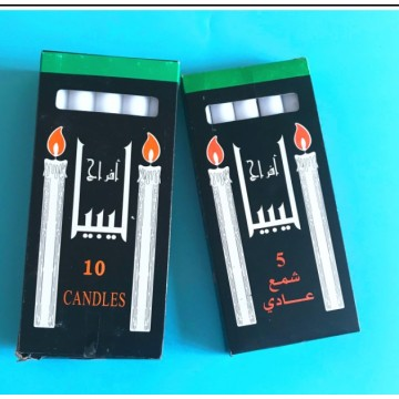 White stick wax candle in black box