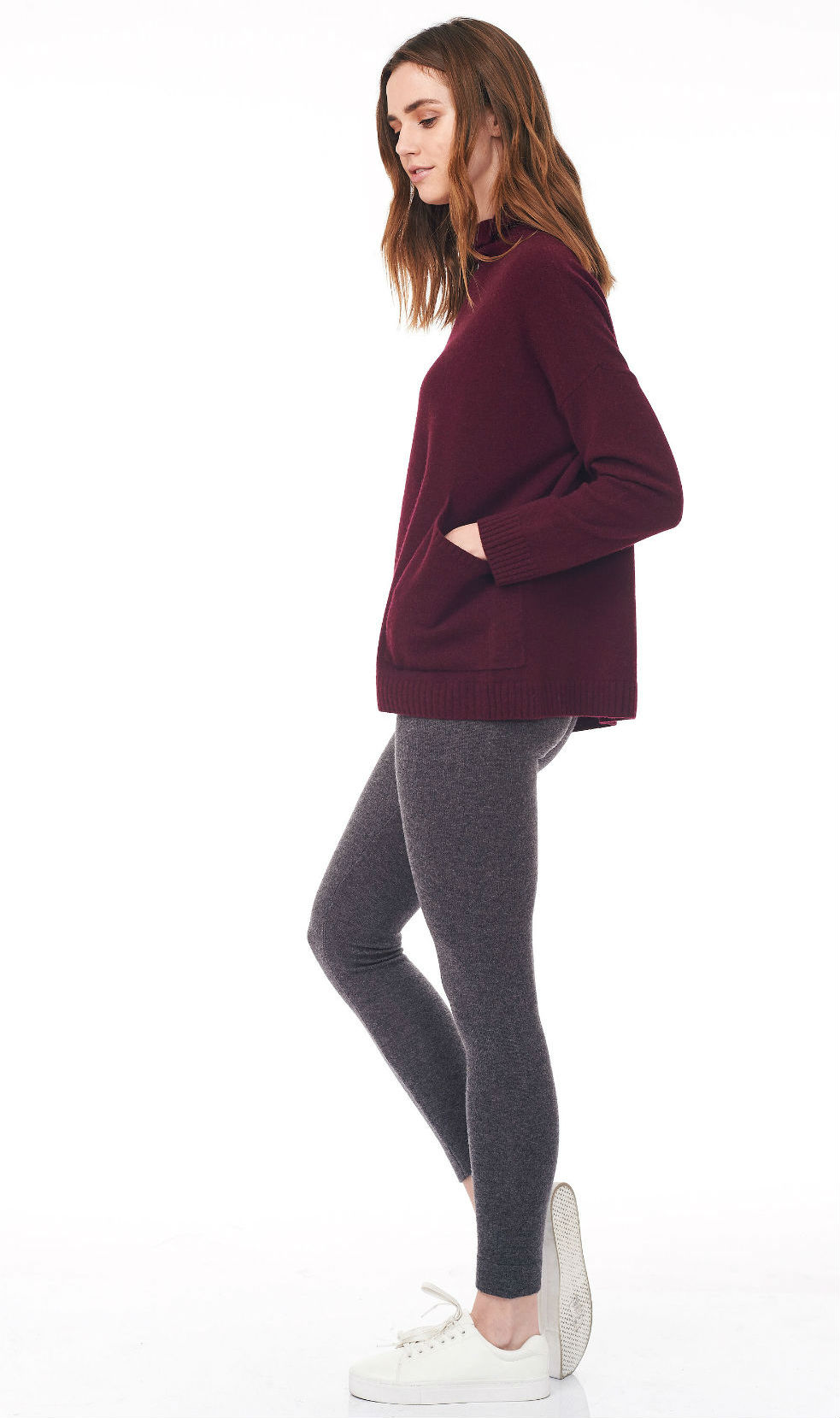 wine turtle neck sweater side