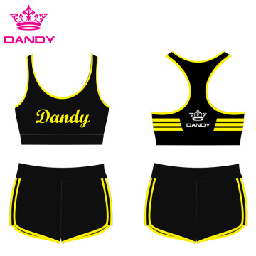 Striped Black Cheer Practice Outfits Te keap