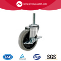 4'' Thread Stem TPR Light Duty Industrial Caster with side brake