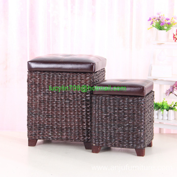 Good User Reputation for Round Storage Ottoman Faux Leather Lid Storage Ottoman with Bulrush Weave export to Croatia (local name: Hrvatska) Wholesale