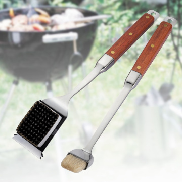 Low MOQ for Grill Brush High-quality BBQ Cleaning Brush And Basting Brush Set export to Germany Factory