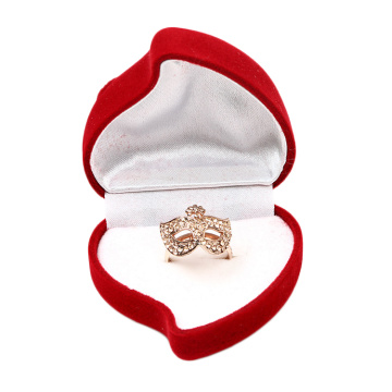 Red Heart Shaped Wedding Single Ring Box