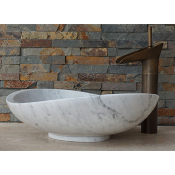 Guangxi white round marble vessel sink