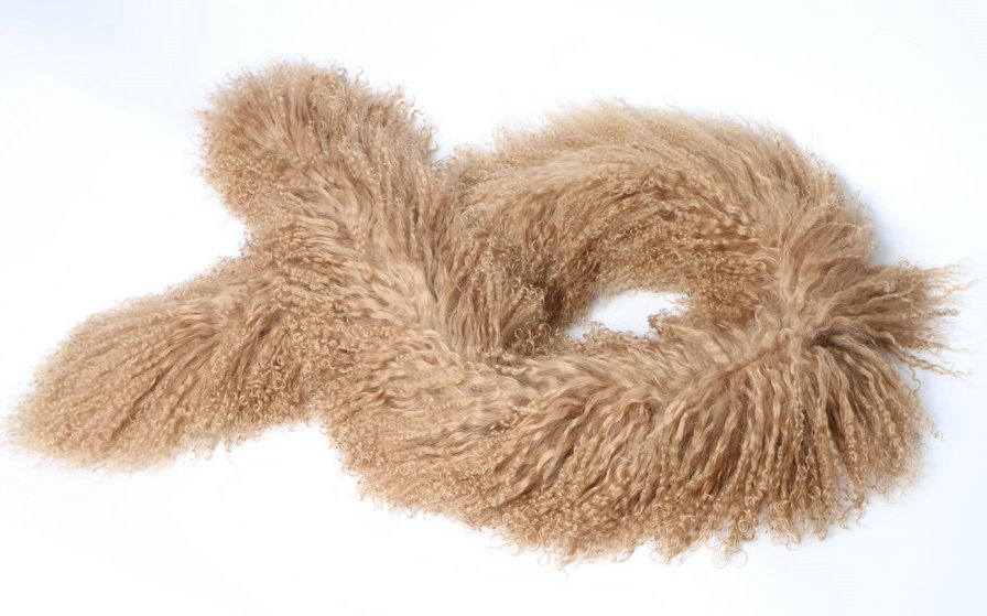 Mongolian Lamb Fur Scarf Brown