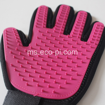 Gentle Deshedding Pet Brush Glove dengan Tips Grooming