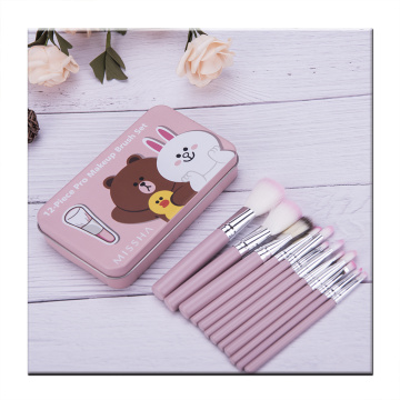 12 pieces pink makeup brush with Iron box