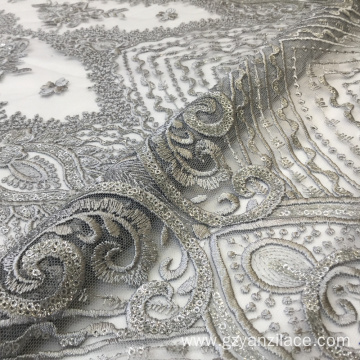 Gray Shine Sequin Flower Embroidery Fabrics