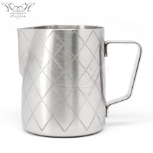 Customized for Stainless Steel Milk Jug Coffee Pitcher Milk Latte Jug With Etching Pattern export to Russian Federation Supplier
