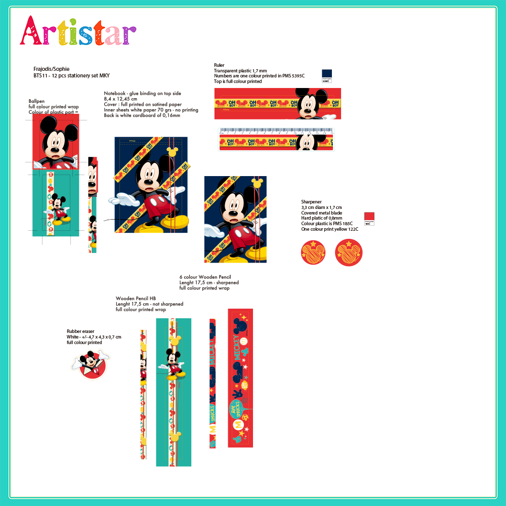 Mickey Mouse 12 Piece Stationery Set