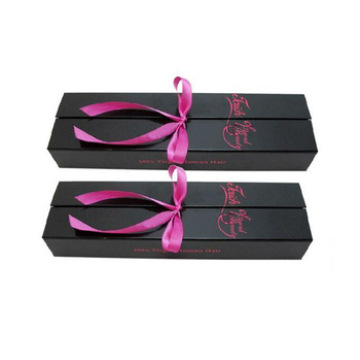 Fashion black hair extension packaging box with ribbon