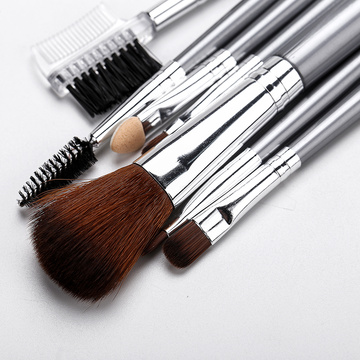Silver pu bag with 7 makeup brushes