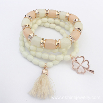 ODM for Gold Tassel Bracelet Multi Layer Beads Tassel Bracelets For Women With Gold Charm supply to Poland Factory