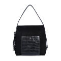 Cloth With Crocodile Leather Stitched Line Hobo Bag