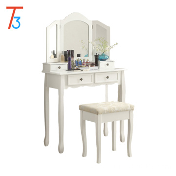 Wooden mirror with stool foldable white dressing table