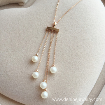 Big discounting for Pearl Necklace Jewelry 6mm Natural Pearl Necklace Rose Gold Tassel Pendant Choker supply to Comoros Factory