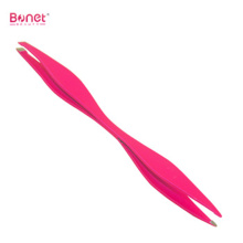Double end Stainless steel soft touch eyebrow tweezers