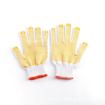 Yellow Safety Dotted Working Cotton Knitted Gloves