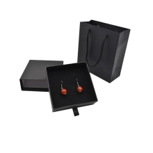 Good Quality for Earring Box, Paper Earring Boxes, Paper Cardboard File Box Manufacturer and Supplier in China Drawer Style Black Paper Jewelry Packaging Earring Box export to Italy Manufacturer