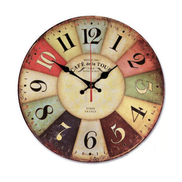 Silent Non Ticking Wall Clocks Large Decorative Battery Operated Antique Vintage Rustic Colorful Tuscan Wood horologe